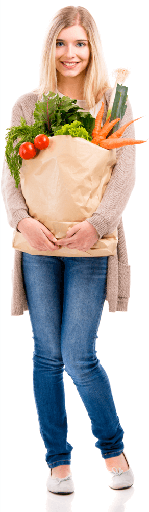 woman with shopping bag Home Page